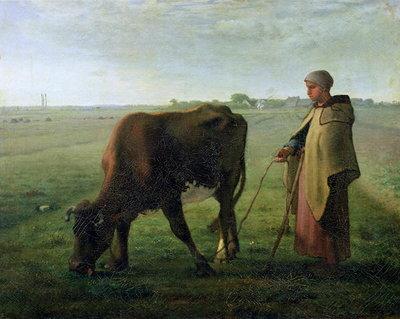 Милле картина Крестьянка, пасущая корову фото